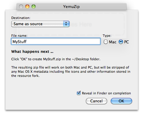 YemuZip - Free Zip Tool for Mac OS X